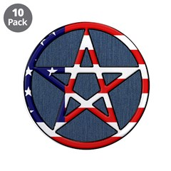 """American Wicca Pentagram 3.5"""" Button (10 pack)"""