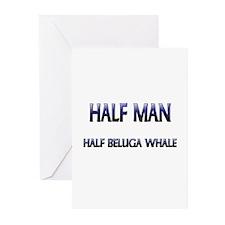 Half Man Half Beluga Whale Greeting Cards (Pk of 1