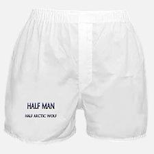 Half Man Half Arctic Wolf Boxer Shorts