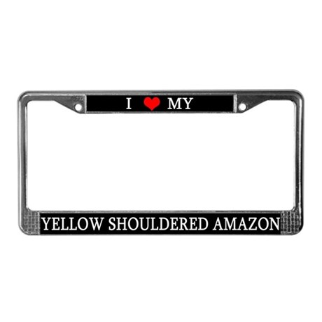 I Lve Yellow Shouldered Amazon License Plate Frame