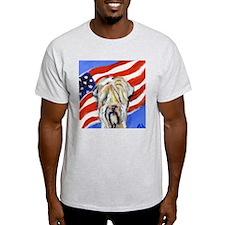 Wheaten Patriotic American Fl Ash Grey T-Shirt