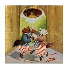 ROOSEVELT BEARS LET FREEDOM RING Tile Coaster