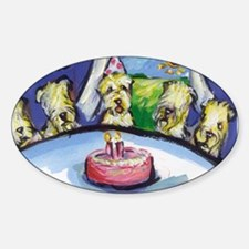 Wheaten Birthday party Oval Decal