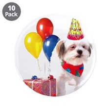 """Birthday puppy 3.5"""" Button (10 pack)"""