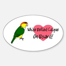 White-Bellied Caique On Board Oval Decal