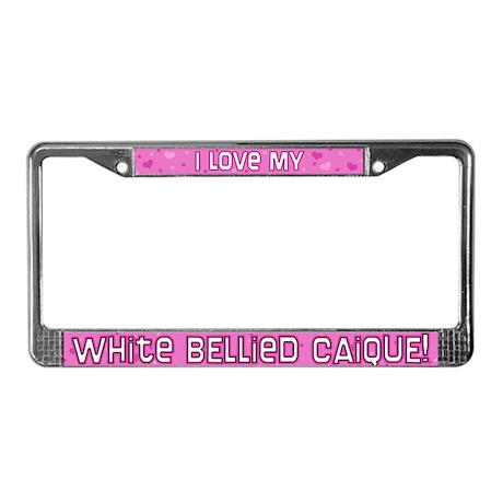 Pnk Plk Dot White Belly Caique License Plate Frame