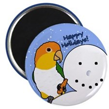 Snowman White Bellied Caique Christmas Magnet
