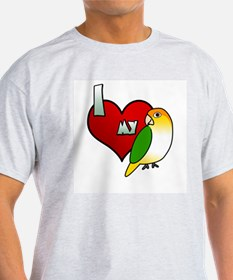 I Love My White Bellied Caique T Shirt (Light)