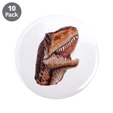 "Fun Jurassic Dinosaur Head 3.5"" Button (10 pack)"