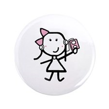 "Girl & iPod 3.5"" Button (100 pack)"