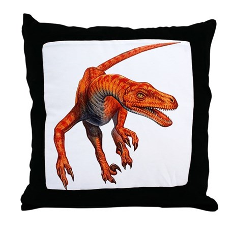 Velociraptor Raptor Dinosaur Throw Pillow