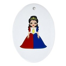 Little Miss Philippines Oval Ornament