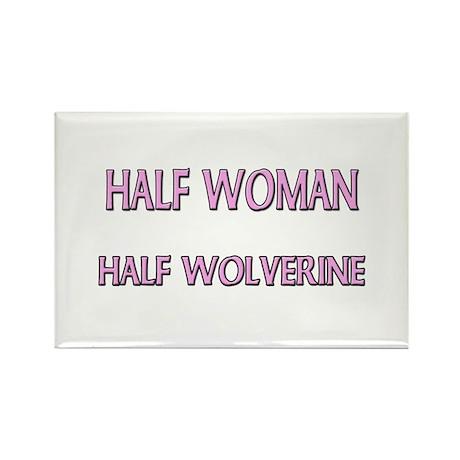 Half Woman Half Wolverine Rectangle Magnet