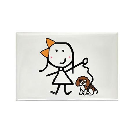 Girl & Beagle Rectangle Magnet