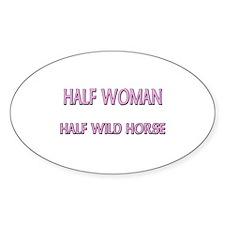 Half Woman Half Wild Horse Oval Decal