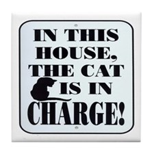 Cat in Charge Tile Coaster