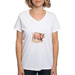 Vintage Oink Piggy Women's V-Neck T-Shirt