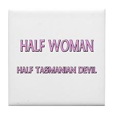 Half Woman Half Tasmanian Devil Tile Coaster