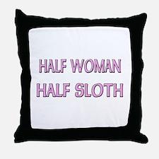 Half Woman Half Sloth Throw Pillow