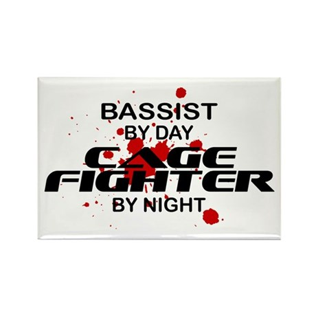 Bassist Cage Fighter by Night Rectangle Magnet