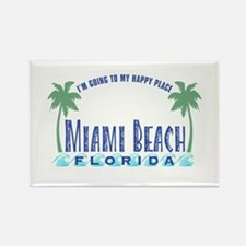 Miami Beach Happy Place - Rectangle Magnet