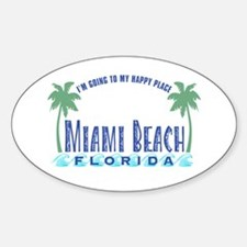 Miami Beach Happy Place - Oval Decal