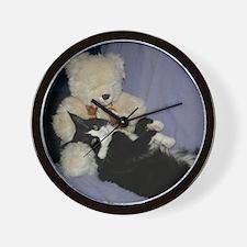 B&W Maine Coon Cat Teddy Boy Wall Clock