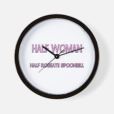 Half Woman Half Roseate Spoonbill Wall Clock