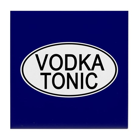 Vodka Tonic Euro Oval blue Tile Coaster
