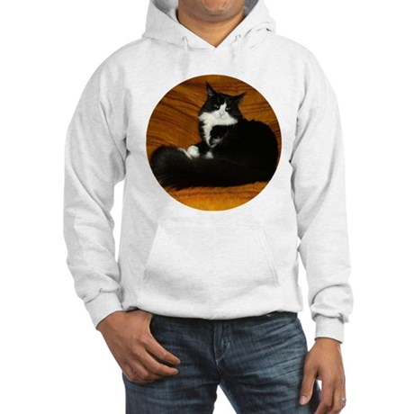 Snug Black & White Maine Coon Hooded Sweatshirt