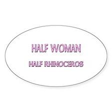 Half Woman Half Rhinoceros Oval Decal