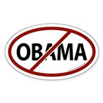 No Obama White Bumper Oval Sticker