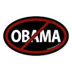 No Obama Black Bumper Oval Sticker