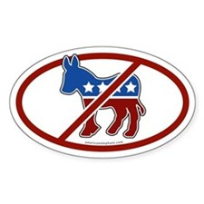 No Democrat White Bumper Oval Decal