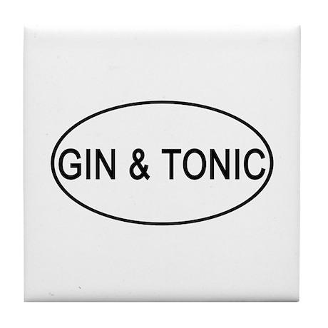 Gin & Tonic Euro Oval white Tile Coaster