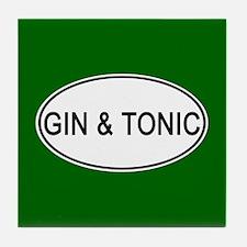 Gin & Tonic Euro Oval green Tile Coaster