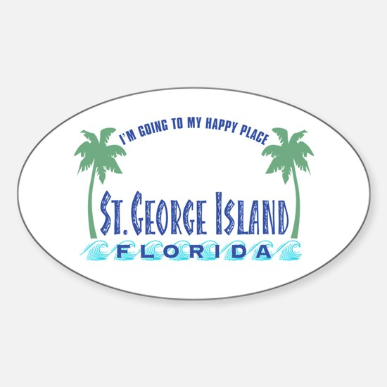 St. George Happy Place - Oval Bumper Stickers