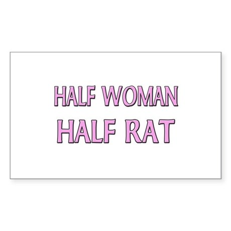 Half Woman Half Rat Rectangle Sticker