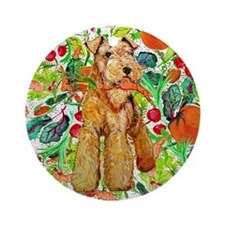 Airedale Terriers go green Ornament (Round)