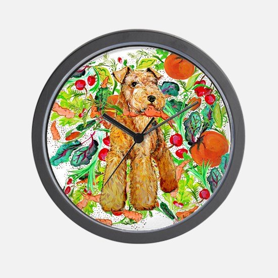 Airedale Terriers go green Wall Clock