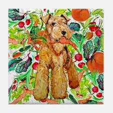 Airedale Terriers go green Tile Coaster