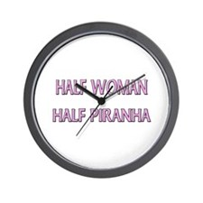 Half Woman Half Piranha Wall Clock