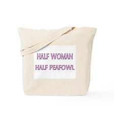 Half Woman Half Peafowl Tote Bag