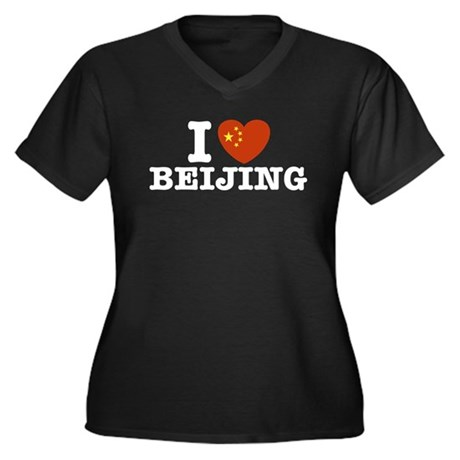 I Love Beijing Women's Plus Size V-Neck Dark T-Shi