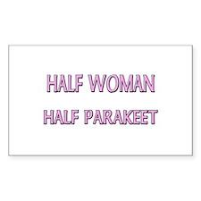 Half Woman Half Parakeet Rectangle Decal