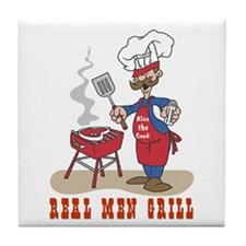 Real Men Grill Dad Tile Coaster