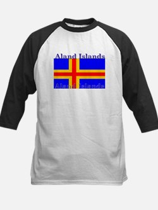 Aland Islands Flag Kids Baseball Jersey
