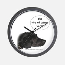 Pity Act- Black Lab Wall Clock