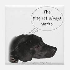 Pity Act- Black Lab Tile Coaster
