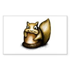 Squirrel With Acorn Rectangle Sticker 10 pk)